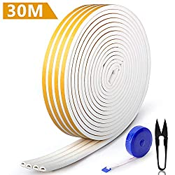 RATEL 30m/ 98.4ft Rubber Weather Strip, Door Gasket Window Anti-Collision Weather Stripping Self Adhesive with 1 Scissors and 1 Tape Measure for Blocking Cracks and Gaps 4 Seals(White)