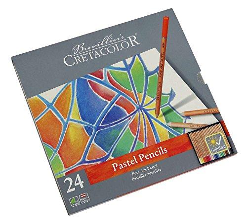 Cretacolor Pastel Pencils, Pastellstifte mit hoher Lichtechtheit, 24 Farben