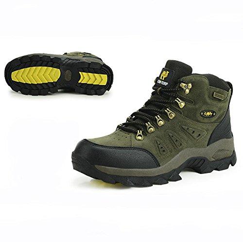 Suetar Scarpe da Escursionismo in Pelle Scamosciata da Uomo Autunno e Inverno Scarpe da Trekking Impermeabili Antiscivolo Leggero Caldo Army Green