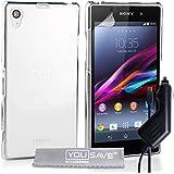 Yousave Accessories Hard Cover Schutzhülle mit Kfz-Ladegerät für Sony Xperia Z1, Crystal Clear