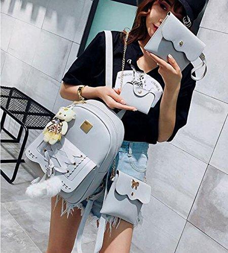 QPALZM Rucksack 2017 College Gewebt Normallack Schultertasche Tasche Frau Multifunktionalen Reißverschluss Rucksack 4 Packungen Grey