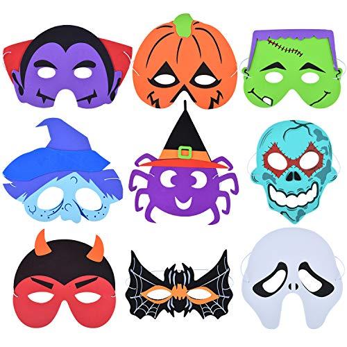Gejoy 18 Stücke Halloween Masken Kürbis Spinne Skelett Fledermaus Hexe Schaum Masken mit Gurt für Halloween Kostüm Cosplay - Kürbis Hexe Kostüm