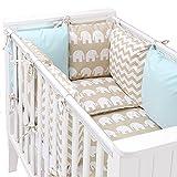 Baby Bettset Kissen UND Bettwäsche – Design wendbar – 14-TEILIG – Zickzack-Muster/Elefanten grau/rosa – Sevira Kids