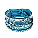 ACVIP Unisex Damen Herren Wickelarmband Lederarmband mit 2-Reihe Nieten (Blau+Weiß)