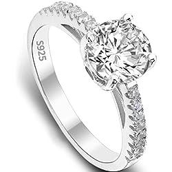 EVER FAITH® 925 Sterling Silber klassisch rund Cut CZ Engagement Ring - Größe 52 (16.6) N06649-1