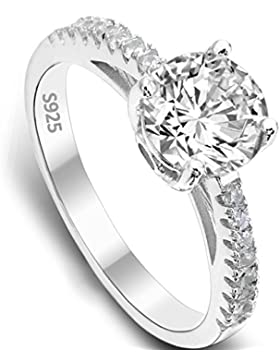 EVER FAITH® 925 Sterling Silber klassisch rund Cut CZ Engagement Ring