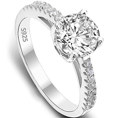 EVER FAITH® 925 Sterling Silber klassisch rund Cut CZ Engagement Ring - Größe 54 (17.2) (0.25 Ct Anello Di Fidanzamento Anello Di Fidanzamento)