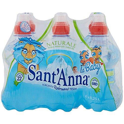 Sant'anna - la baby - blister d'acqua minerale naturale - con tappo push&pull per bere più facilmente - confezione da 6 bottigliette di plastica da 0.25 litri