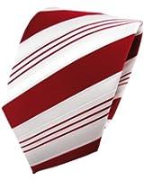 TigerTie Satin Krawatte rot signalrot weiß silber gestreift - Schlips Binder Tie