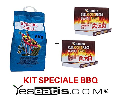 Kit Barbecue YesEatIs - 8 Kg Carbobois Holzkohle+ 64 Weisse Anzuender Wuerfeln Satanino