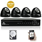 [UPGRADED 960p HD] 4CH Waterproof CCTV Camera System with 4x Super HD Indoor Outdoor Fixed Dome Cameras with 1TB Hard Drive (1280x960, 1.3 Mega-Pixels, HD 1080N DVR, MULTIPLE Mobile & PC Access, Realtime Email Alerts, Day/Night Vision, Vandal-Proof Camera Housing, Mobile App: Xmeye)