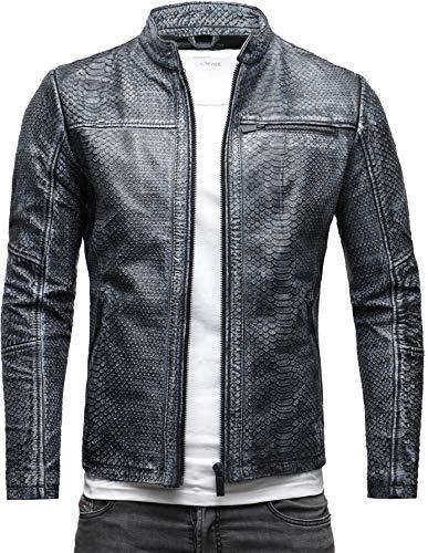 CRONE Epic Python Cut Herren Lederjacke Cleane Basic Jacke mit Strukturiertem Rindsleder (XXL, Schwarz Grau (Python Cut))