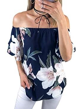 Sentao Camiseta de la Impresión de la Flores de la Flojas Blusa del Hombro Fuera de Las Mujeres Top