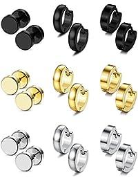 BESTEEL 9Pares Acero Inoxidable Pendientes Aros para Hombre Mujer Unisex Redondos Aretes Pendientes Cartilago Piercings Negro Plata y Dorado, 18G