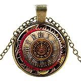 Ultra ® römische Ziffern Zahn-Stil Classic Unisex Steampunk Halskette Great Style Unisex Gothic Cosplay Vintage Cyber Männer Frauen Schmuck Cosplay Schädel Zahnräder Designs