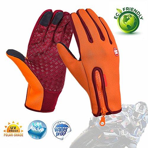Löwen Camo (Fahrrad Handschuhe, Morbuy wasserdichter Touchscreen Handschuhe Winter Fahrradhandschuhe Laufhandschuhe Sport Handschuh mit Touchscreen Funktion (L, Orange))