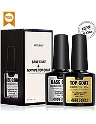 Modelones UV Nagellack Top Coat & Base Coat Unterlack & Überlack Set Gel LED 2x10ml