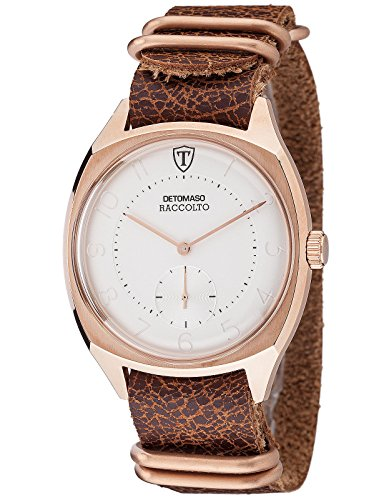 Detomaso Raccolto Men's Watch with Rosegoldenem Genuine Leather Braided Wristband Bracelet Stainless Steel Case and Brown Nato Draught. Elegant Quartz Men's Watch with Separate Second.