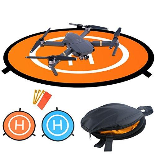 WisFox Pista de aterrizaje y despegue para drones, cuadricópteros, helicópteros RC radiocontrol teledirigidos para DJI Mavic Pro Accessorios, Plegable e impermeable 75 cm de diámetro