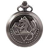 SIBOSUN FullMetal Alchemist Edward Elric Anime schwarze Taschenuhr mit Ketten cadeau