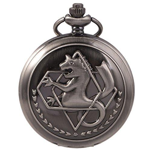 SIBOSUN FullMetal Alchemist Edward Elric Anime schwarze Taschenuhr mit Ketten cadeau (Edward Elric Halloween)
