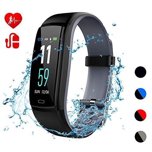 Teepao Blutdruckmessgerät, Fitness-Tracker, Herzfrequenz-Monitor, Schrittzähler mit wasserfestem Armband, Kalorien- und Schrittzähler für Android iOS Smartphones grau