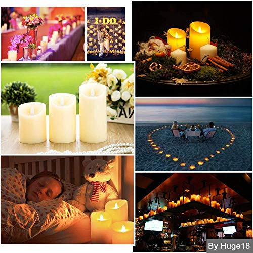 Batteriebetriebene Kerzen Mit Beweglicher Flamme.Gr4tec 3er Set Flammenlose Led Kerzen Echtwachskerze Mit