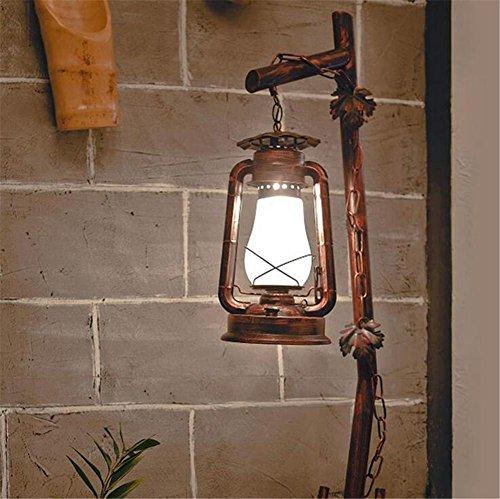 Atmko®Lampada da Terra Lampada a Stelo Piantana Antico metallo Lampada da terra da letto Soggiorno Ferro battuto vetro creativo Kerosene Lampade