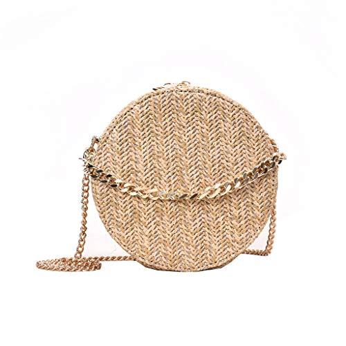 LIHAEI UmhäNgetasche Damen Klein Tasche Strohtasche Handtasche Kreis Form Strandtasche Korbtasche FüR Strand Reise Strohsack Mit ReißVerschluss