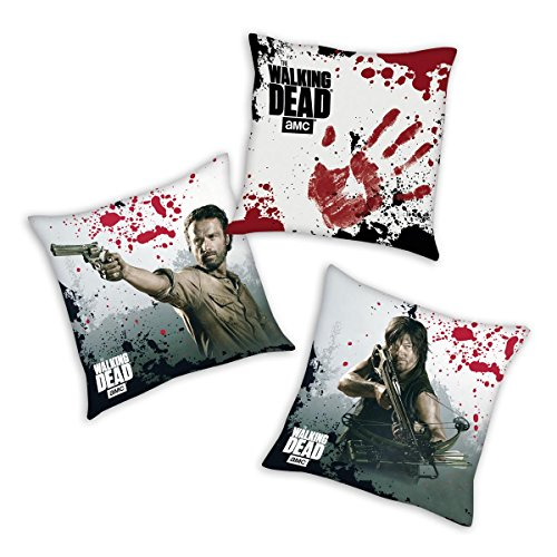 The Walking Dead Dekokissen 3-er Set, 'Rick, Daryl, Bloody' aus Mikrofaser 40x40 cm