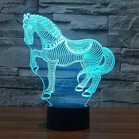 Caballo de guerra Ilusiones ópticas 3D Lámparas LED, FZAI Increíble 7 cambios de colores táctil botón noche luz de la noche con 150cm cable USB decoración del