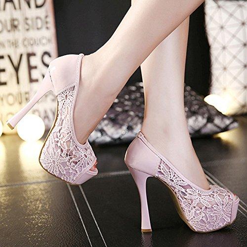 COOLCEPT Femmes Mode Slip On Sandales Peep Toe Talon Aiguille Chaussures Rose