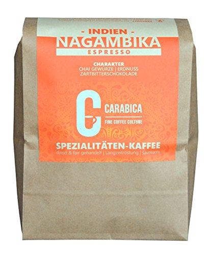 Espresso Nagambika Estate, Indien | kräftige Espressobohnen mit würzigen Noten und reichlich Crema | handgeröstet, fair gehandelt, nachhaltig angebaut | carabica (375g ganze Bohne)