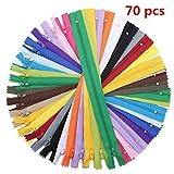 KING DO WAY 70 Pezzi di Cerniere Lampo, Set di Chiusura Lampo Colorata in 20 Colori Diversi, Sistema di Zipper per Tessuto/Vestito/Zaino/DIY, in Materiale di Tessuto in Nylon, 40cm 20 Colori
