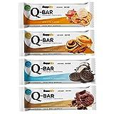"""Protein Eiweiß Riegel Low Carb Q-Bar – Whey Isolat Fitness Snack Von Supplify – Box 12x60g Sport Energie Riegel, Natürlicher Geschmack """"Cookies&Cream"""" – Gesunder Mahlzeitenersatz Mit 100% GELD-ZURÜCK-GENUSSGARANTIE!"""