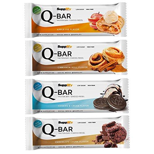 Protein Eiweiß Riegel Low Carb Q-Bar - Whey Isolat Fitness Snack Von Supplify - Box 12x60g Sport Energie Riegel, Natürlicher Geschmack