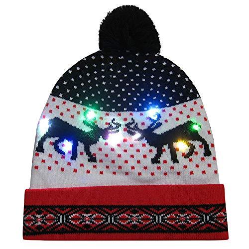 (Amphia Weihnachtsmütze - LED-Licht Weihnachtskugel Strickmütze - Frohe Weihnachten LED Leucht-Strickmütze Beanie Hairball Warm Cap Geschenke)