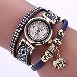 La Cabina Femme Fille Chic Montre Bracelet en Tricotage Bohémien avec Pendentif...