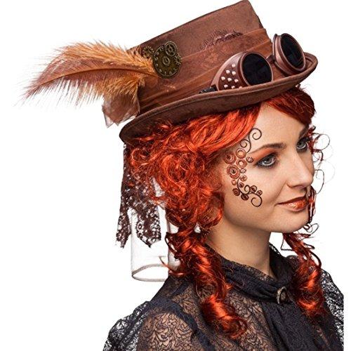 Gothic Zylinder Steampunk Hut braun Accessoire Retrofuturismus Viktorianische Kopfbedeckung Punk Kostüm Accessoire Zylinderhut Retrolook