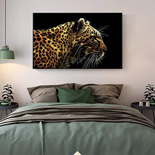 Cuadro Lienzo,Moderno Abstracto Animales Tigre Amarillo