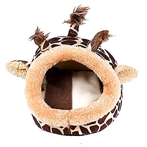 Haustier-Fleece-Bett mit bunten Mustern Netter Nicht Beleg Warm waschbar Small Medium Puppy Schlafen Iglu Haus-Large (Giraffe) -