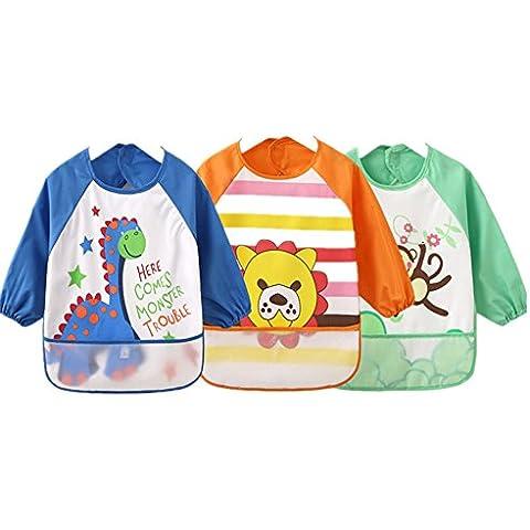 SOHV Unisex niños Childs artes manualidades pintura delantal bebé babero impermeable con mangas y bolsillo, 6–36meses, azul oscuro, Set de 3