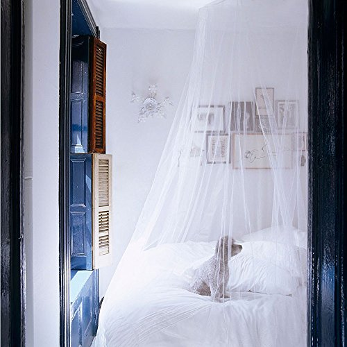 Moskitonetz, Samione Moskitonetz Fliegennetz Mückennetz Insektennetz Spitze Betthimmel Moskitonetzen Rund Moskitonetz für Einzel - oder Doppelbetten Indoor or Outdoor Travel (Weiß) - Bild 2