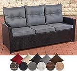 CLP Polyrattan-Sofa FISOLO mit DREI Sitzplätzen I Gartensofa mit stabilem Untergestell aus Aluminium I Couch mit Kissen und Polsterauflagen I erhältlich Schwarz, eisengrau