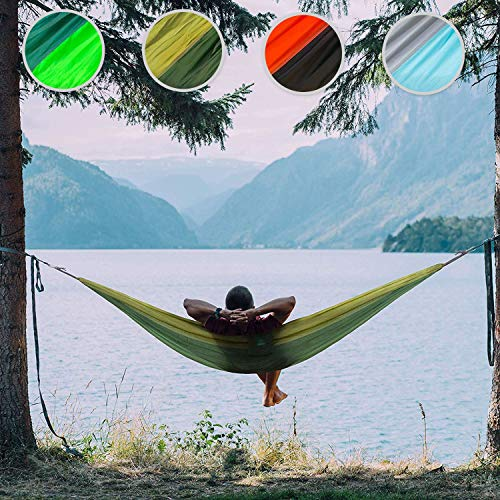 casa pura Reißfeste Outdoor Hängematte MINCA   Fallschirm-Nylon in Militär-Qualität   275x140 cm   für Camping Garten Outdoor   Ultraleicht & bis 200 kg belastbar   eingenähte Tragetasche (armeegrün)
