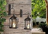 Lanterna in metallo 'London' con gancio a muro in metallo, set di 2, 4 pz.