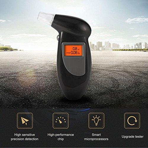 Analizador de aliento de alcohol digital Analizador de alcoholímetro Luz de fondo de detector LCD (Color: negro)