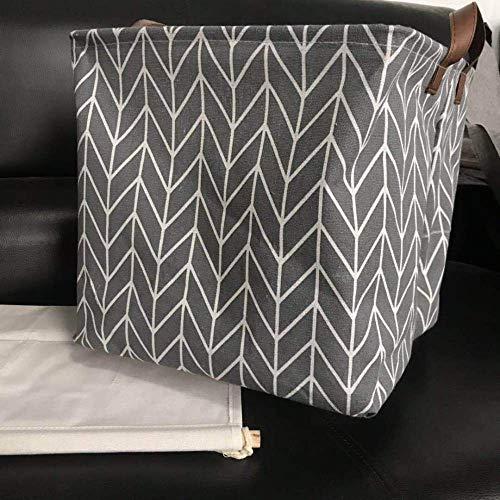 Gu3Je Waterproof Canvas Laundry Clothes Storage Basket Foldable Storage Organizer Holder Box Pouch Barrel (Multicolor Optional) Gray Arrow 33X33X33cm -