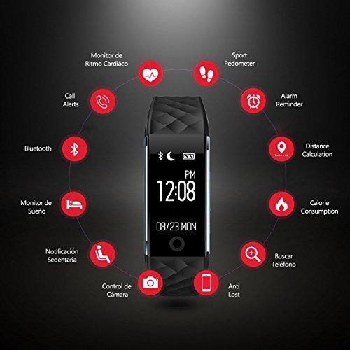 Pulsera Actividad con GPS Pulsera Inteligentes con Pulsómetro VeiMiues  con Monitor de Ritmo Cardíaco Monitor de Sueño y Calorías  Pulsera Deportiva Impermeable 67 con Podómetro para IOS y Android