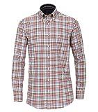 Casa Moda - Comfort Fit - Herren Langarm Flanell Hemd kariert mit Button-Down-Kragen (483087900), Größe:XL, Farbe:Rot (400)